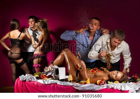 Guys having fun with women - stock photo