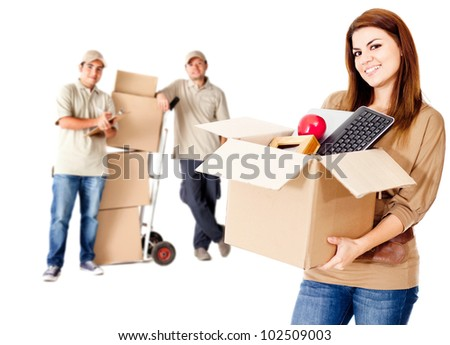 Guys helping a woman to move house - isolated over white - stock photo