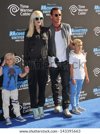 "Gwen Stefani & Gavin Rossdale & children at the world premiere of ""Monsters University"" at the El Capitan Theatre, Hollywood. June 17, 2013  Los Angeles, CA - stock photo"