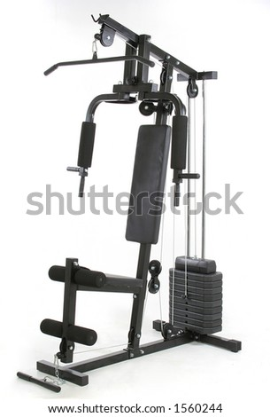 Gym and muscle machine. Health and fitness object  over white background. I´ve got more - stock photo