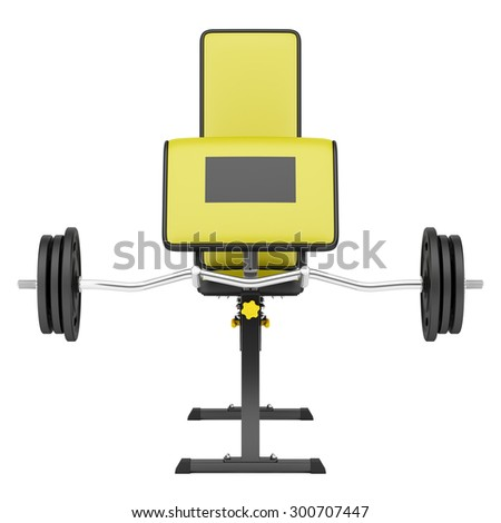 gym arm curl bench with barbell isolated on white background - stock photo