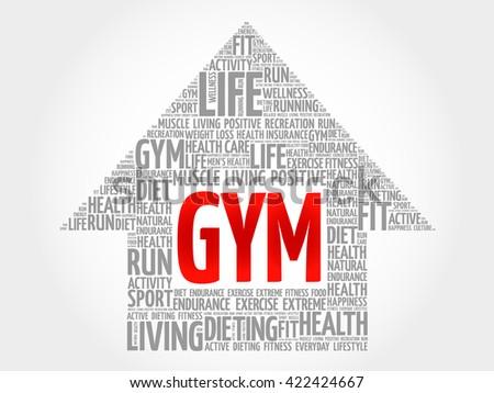 GYM arrow word cloud, health concept - stock photo