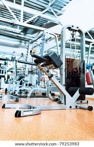 Gym centre interior. Equipment, gym apparatus. - stock photo