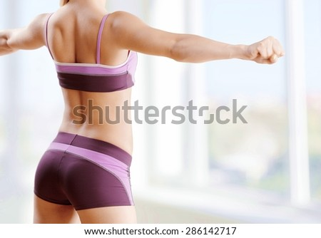 Gym, dumbbells, training. - stock photo