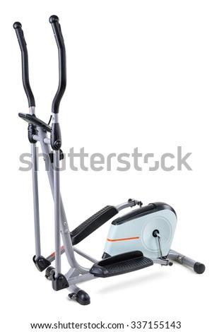 gym equipment, elliptical cardio trainer, isolated on white background - stock photo