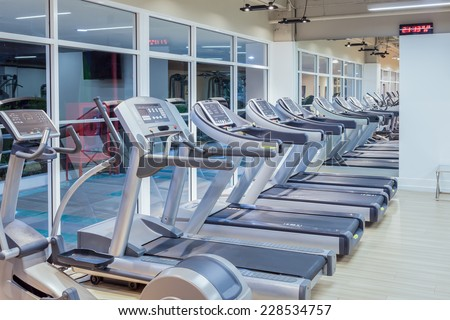 gym fitness and running machine - stock photo