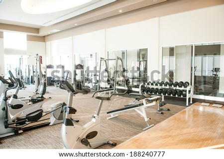 gym - healthy fitness club clean center - stock photo