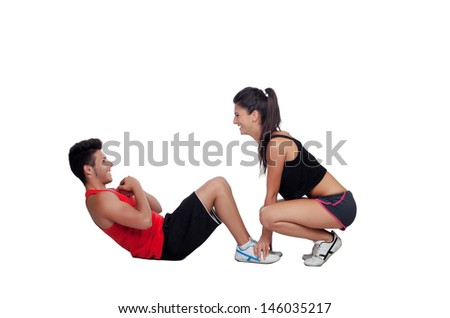 Gym men exercising with his personal trainer isolated on a white background - stock photo