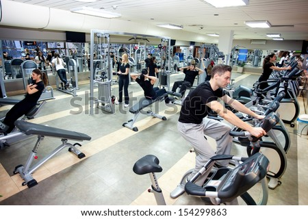 gym shot �¢?? people workout at gym - stock photo
