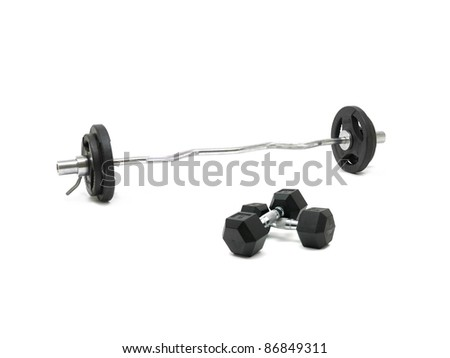 Gym sporting equipment on metalic background - stock photo