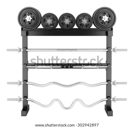 gym weight rack isolated on white background - stock photo