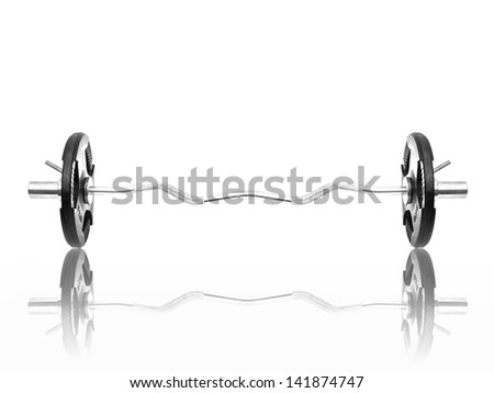 Gym weights isolated against a white background - stock photo