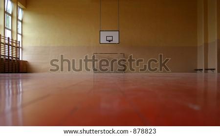 Gymnasium - goal and basket. - stock photo
