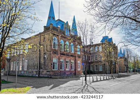 Gymnasium in Ventspils of Latvia. Ventspils is a city in the Courland region of Latvia. Latvia is one of the Baltic countries. - stock photo