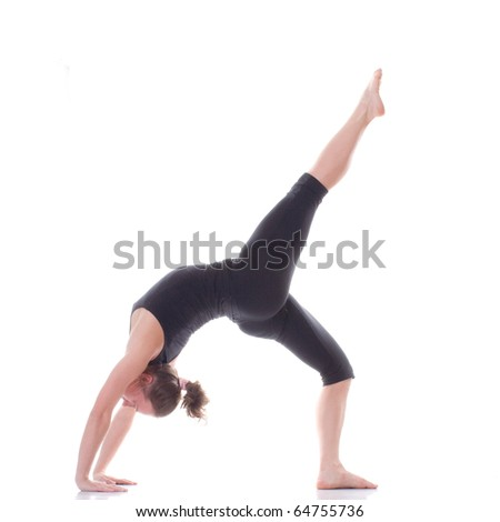 Gymnast girl on white background. Leg is up - stock photo
