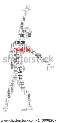 Gymnastic info-colorful text graphic and arrangement concept on white background (word cloud) - stock photo