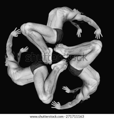 Gymnasts figures on a black background.Athletes.Circular motion.Ornament.Black and white image - stock photo