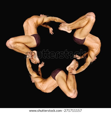 Gymnasts figures on a black background.Athletes.Circular motion.Ornament.C?olor image - stock photo