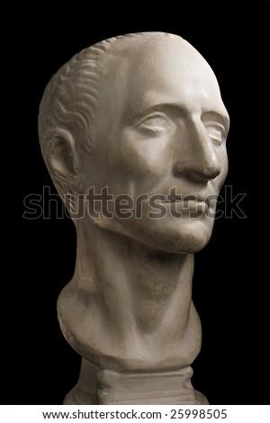 Gypsum head of Julius Caesar - stock photo