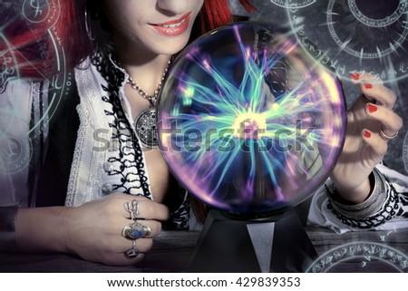 gypsy fortune teller forecast - stock photo