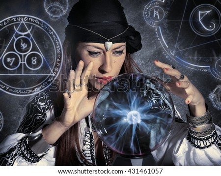 gypsy fortune teller forecasting future - stock photo