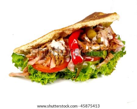 gyros in pita bread - stock photo