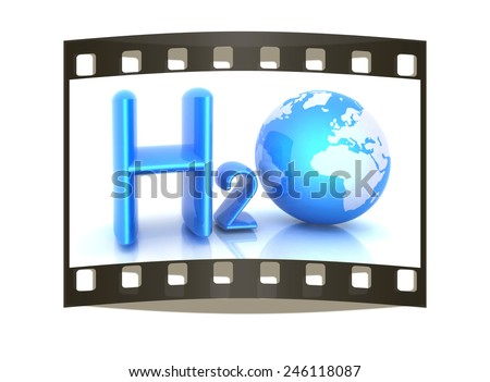 H2O. Formula of water on white background. The film strip - stock photo
