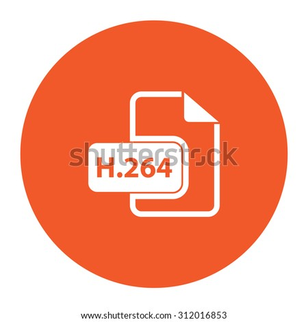 H264 video file extension. Simple flat white icon in the orange circle. illustration symbol - stock photo