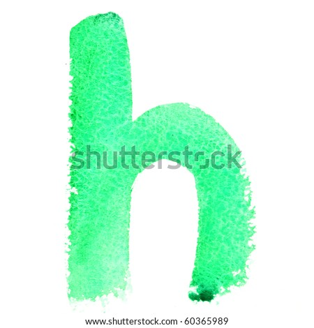 H - Watercolor letters (Lower case) - stock photo