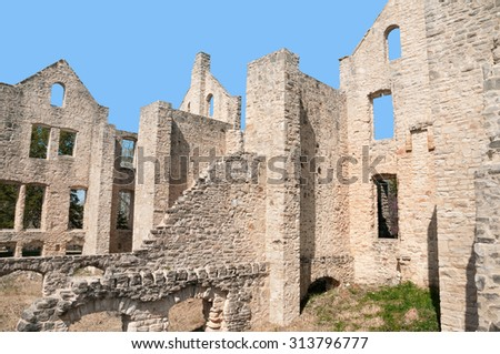 Ha Ha Tonka State Park castle in Missouri. - stock photo