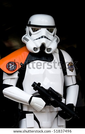 HAARZUILENS, THE NETHERLANDS - APRIL 25: Star Wars Trooper at the Elf Fantasy Fair on April 25, 2010 in Haarzuilens, The Netherlands - stock photo
