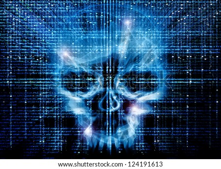 hacker attack background - stock photo