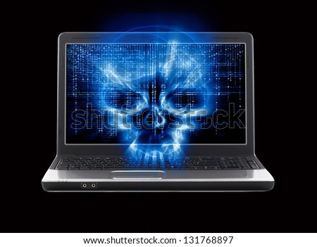 hacker attack concept isolated on black - stock photo