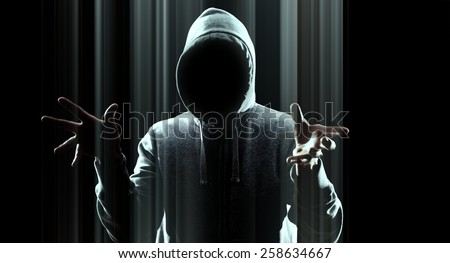 Hacker attack futuristic computer - stock photo