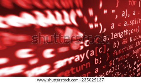 Hacker, bad software or online theft metaphore. Computer red screen- danger virus threat. Program application script code fragment.  Dark shadow vignette spotlight effect.  (MORE SIMILAR IN MY GALLERY - stock photo