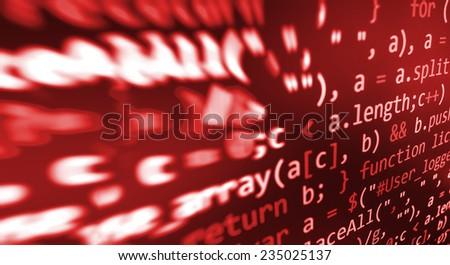 Hacker, bad software or online theft metaphore. Computer red screen- danger virus threat. Program application script code fragment.  Dark shadow vignette spotlight effect.  (MORE SIMILAR IN MY GALLERY - stock photo
