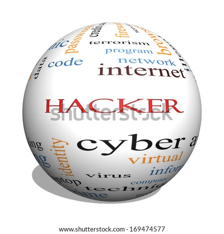 Hacker 3D Sphere Word Cloud Concept with great terms such as firewall, cyber, attack, crime and more. - stock photo