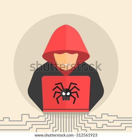 Hacker, hacking flat icon. - stock photo
