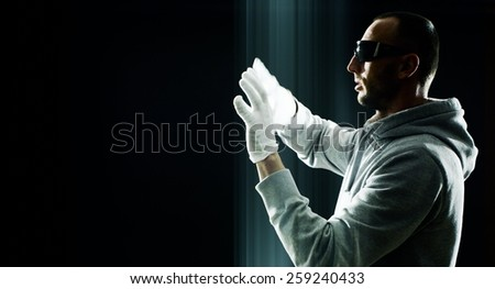 Hacker hacking futuristic using virtual keyboard - stock photo