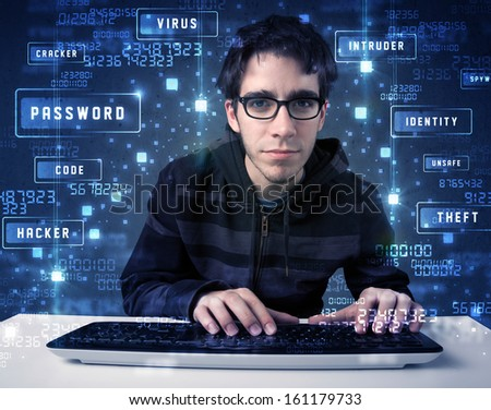 Hacker programing in technology enviroment with cyber icons and symbols - stock photo