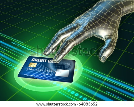 Hacker's hand trying to steal a credit card. Digital illustration. - stock photo