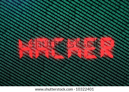 Hacker sign in front of Binary Code - stock photo