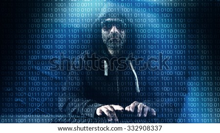 Hacker typing on keyboard blue binary background - stock photo
