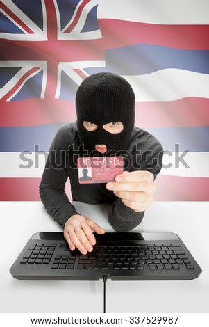 Hacker with ID card in hand and USA states flag on background - Hawaii - stock photo