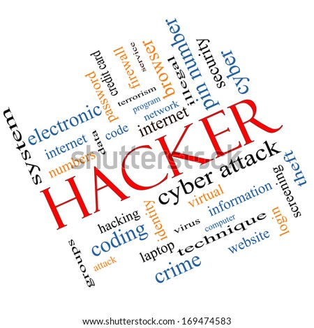 Hacker Word Cloud Concept Angled with great terms such as firewall, cyber, attack, crime and more. - stock photo