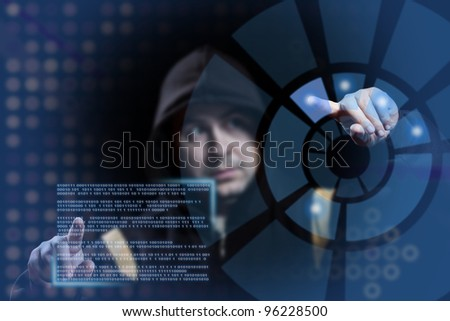 hacker working on modern technology, focus on the hand - stock photo