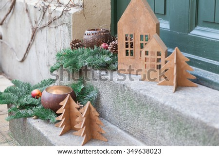 Hackesche yards (hofe) in Berlin on the eve of Christmas without snow - stock photo