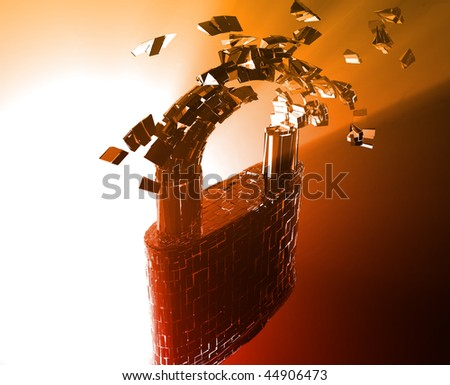 Hacking bypass compromised security with broken lock concept illustration - stock photo