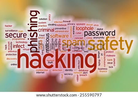 Hacking word cloud concept with abstract background - stock photo