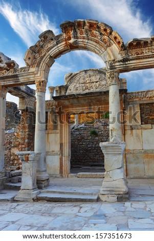 Hadrian Temple in Ephesus, near Celcuk, Turkey - stock photo